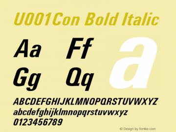 U001Con Bold Italic Version 1.05 Font Sample