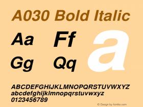 A030 Bold Italic Version 1.05 Font Sample