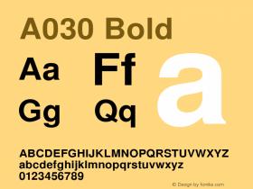 A030 Bold Version 1.05 Font Sample