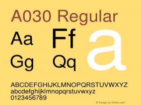 A030 Regular Version 1.05 Font Sample