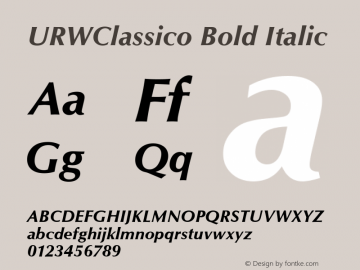 URWClassico Bold Italic Version 1.05 Font Sample
