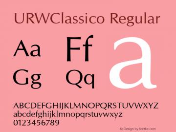 URWClassico Regular Version 1.05 Font Sample
