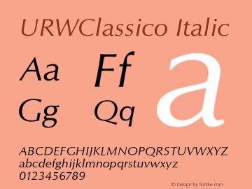 URWClassico Italic Version 1.05 Font Sample