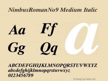 NimbusRomanNo9 Medium Italic Version 1.05 Font Sample