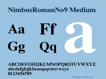 NimbusRomanNo9 Medium Version 1.05 Font Sample