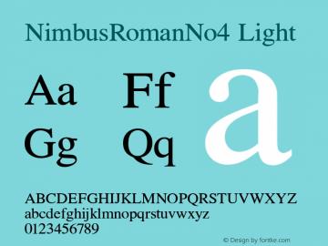 NimbusRomanNo4 Light Version 1.05 Font Sample