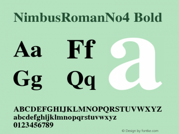 NimbusRomanNo4 Bold Version 1.05 Font Sample