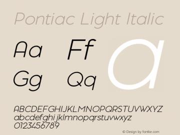 PontiacLightItalic 1.000 | web-TT图片样张