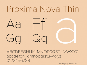 Proxima Nova Thin Version 2.003图片样张