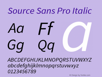 Source Sans Pro Italic Version 1.040;PS 1.000;hotconv 1.0.70;makeotf.lib2.5.5900图片样张