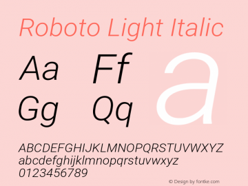 Roboto Light Italic Version 2.001151; 2014图片样张