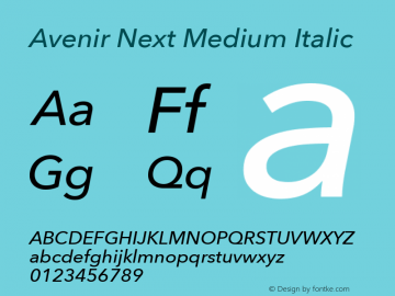 Avenir Next Medium Italic 8.0d5e6图片样张