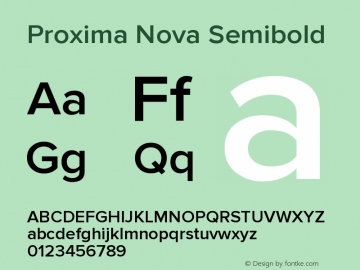 Proxima Nova Semibold Version 2.014;PS 002.014;hotconv 1.0.70;makeotf.lib2.5.58329图片样张