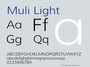 Muli Light Version 1.000 Font Sample