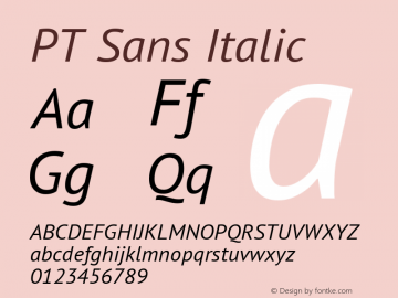 PT Sans Italic Version 2.003W OFL图片样张