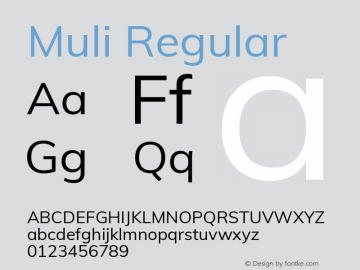 Muli Regular Version 2.000 Font Sample