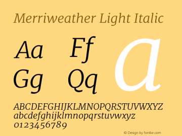 Merriweather Light Italic Version 1.001图片样张