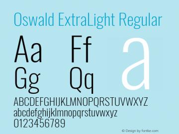 Oswald ExtraLight Version 4.100图片样张
