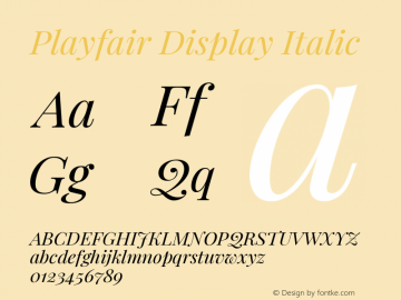 Playfair Display Italic Version 1.200; ttfautohint (v1.8.2)图片样张