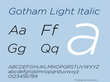 Gotham-LightItalic Version 1.200图片样张