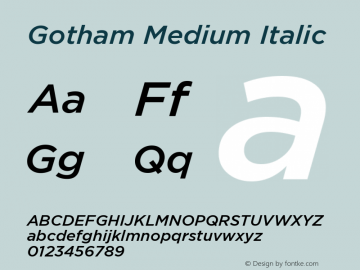 Gotham-MediumItalic Version 1.200图片样张