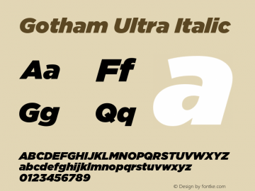 Gotham-UltraItalic Version 1.200图片样张