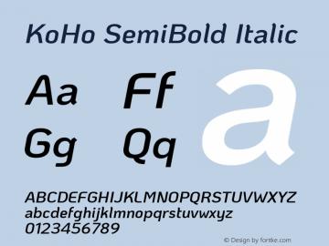 KoHo SemiBold Italic Version 1.000; ttfautohint (v1.6)图片样张