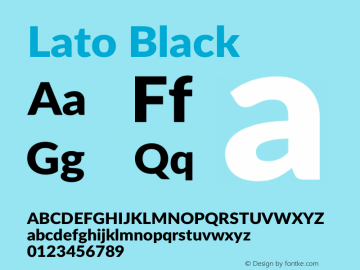 Lato Black Version 2.007; 2014-02-27图片样张