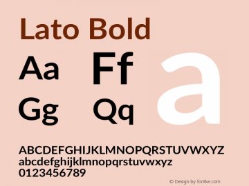 Lato Bold Version 2.007; 2014-02-27图片样张