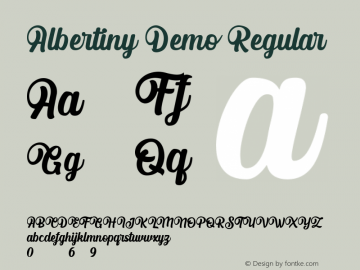 Albertiny Demo Version 1.00;April 28, 2020;FontCreator 13.0.0.2613 64-bit图片样张