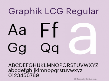 GraphikLCG-Regular Version 1.2; 2012 Latin, Cyrillic and Greek图片样张