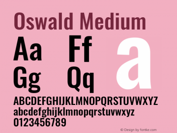 Oswald Medium Version 4.100; ttfautohint (v1.8.1.43-b0c9)图片样张