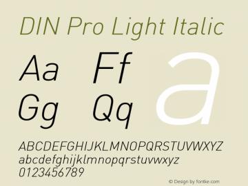 DIN Pro Light Italic Version 7.504; 2005; Build 1020图片样张