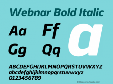 Webnar Bold Italic Version 1.000;PS 001.000;hotconv 1.0.70;makeotf.lib2.5.58329图片样张