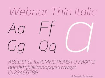 Webnar Thin Italic Version 1.000;PS 001.000;hotconv 1.0.70;makeotf.lib2.5.58329图片样张