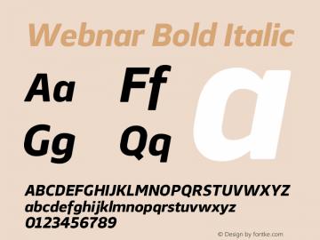 Webnar Bold Italic Version 1.000;PS 001.000;hotconv 1.0.70;makeotf.lib2.5.58329图片样张