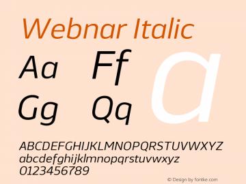 Webnar Regular Italic Version 1.000;PS 001.000;hotconv 1.0.70;makeotf.lib2.5.58329图片样张
