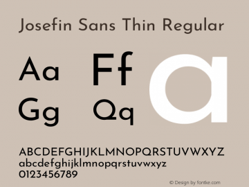 Josefin Sans Thin Regular Version 2.000图片样张