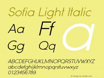 Sofia Light Italic Version 1.000 2008 initial release图片样张