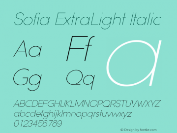 Sofia ExtraLight Italic Version 1.000 2008 initial release图片样张