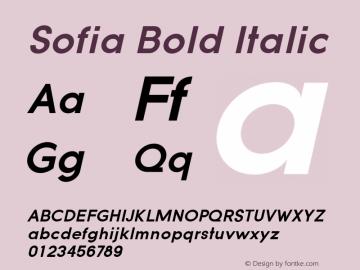 Sofia Bold Italic Version 1.000 2008 initial release图片样张