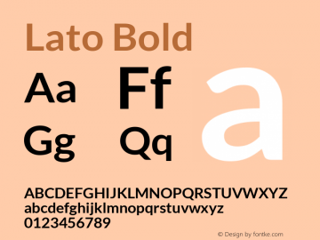 Lato Bold Version 1.104; Western+Polish opensource图片样张