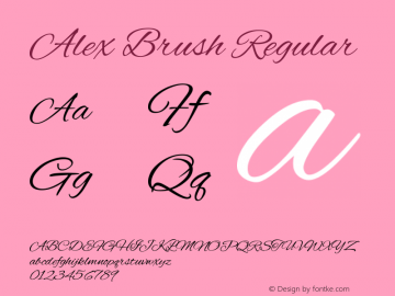 Alex Brush Regular Version 1.004 Font Sample