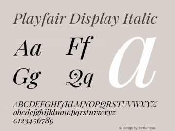 Playfair Display Italic Version 1.200; ttfautohint (v1.6)图片样张
