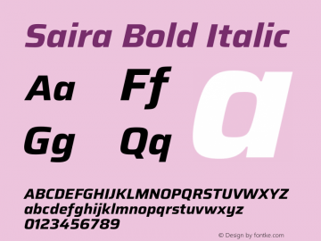 Saira Bold Italic Version 1.100图片样张