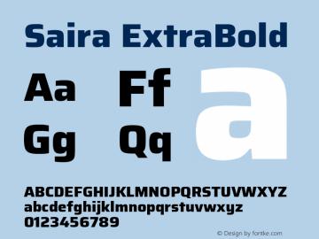 Saira ExtraBold Version 1.100; ttfautohint (v1.8.3)图片样张