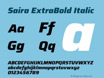 Saira ExtraBold Italic Version 1.100; ttfautohint (v1.8.3)图片样张