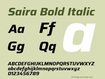 Saira Bold Italic Version 1.100; ttfautohint (v1.8.3)图片样张