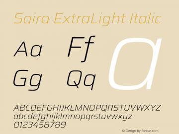 Saira ExtraLight Italic Version 1.100图片样张