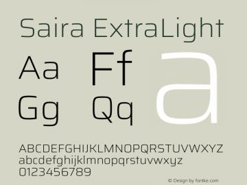 Saira ExtraLight Version 1.100图片样张